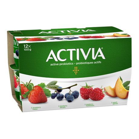 Activia Yogurt with Probiotics, Strawberry/Blueberry/Raspberry/Peach Flavour, 100g (Pack of 12) - image 1 of 4