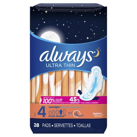Always Ultra Thin Size 4 Overnight Pads with Wings, Unscented - image 1 of 4