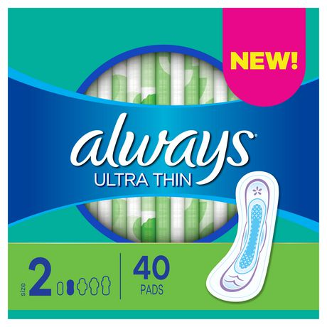 Always Ultra Thin Size 2 Long Super Pads without Wings, Unscented - image 1 of 4