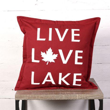 Canadiana Coussin Décoratif- Vivre L'amour Lac - image 1 de 4