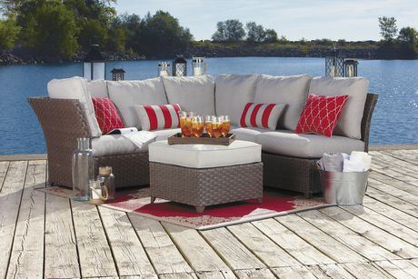 hometrends Rushreed 3-Piece Wicker Sectional Sofa Patio Set - image 1 of 8
