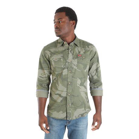 Chemise à boutons-pression à manches longues de première qualité Wrangler pour homme - image 1 de 4