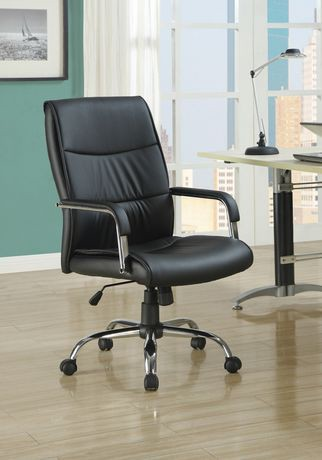 Monarch Specialties Black Leather Look Office Chair