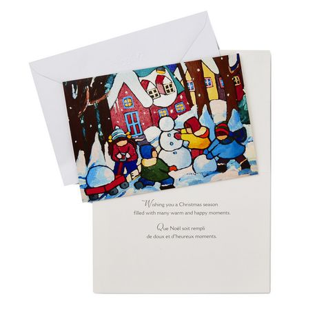 Hallmark UNICEF Children with Snowman French-Language Boxed Christmas Cards - image 2 of 2