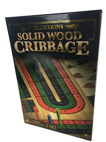 Cardinal Games Traditions - Solid Wood Cribbage Folding Board Game