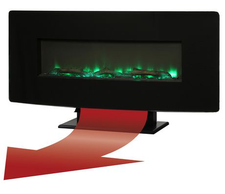 Muskoka 36 Quot Curved Wall Mount Electric Fireplace Black