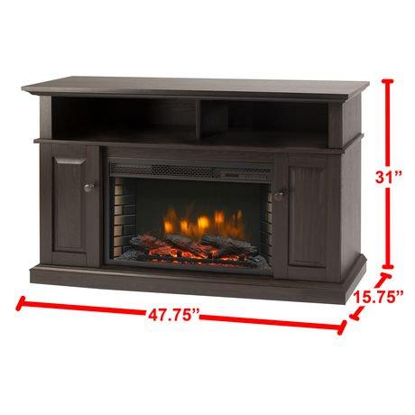 Muskoka Delaney 48 Media Fireplace Rustic Brown Walmart Canada