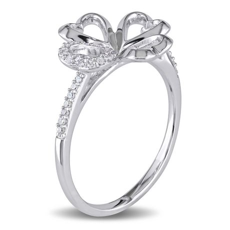 Miabella 1/10 Carat T.W. Diamond Sterling Silver Heart Clover Ring - image 2 of 5