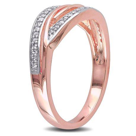 Bague entrecroisée Miabella avec diamants 1/7 CT poids total en argent sterling plaqué de rhodium rosé - image 2 de 5