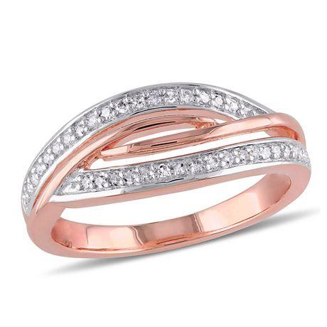 Bague entrecroisée Miabella avec diamants 1/7 CT poids total en argent sterling plaqué de rhodium rosé - image 1 de 5