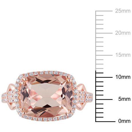 Bague cocktail auréole Tangelo avec morganite simulée et zircons cubiques 5-1/4 CT PBT en argent sterling plaqué de rhodium rosé - image 3 de 5