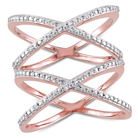 Miabella 1/10 Carat T.W Diamond Rose Rhodium-Plated Sterling Silver Double Crisscross Ring - image 1 of 5