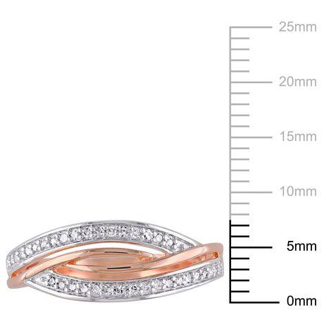 Bague entrecroisée Miabella avec diamants 1/7 CT poids total en argent sterling plaqué de rhodium rosé - image 3 de 5