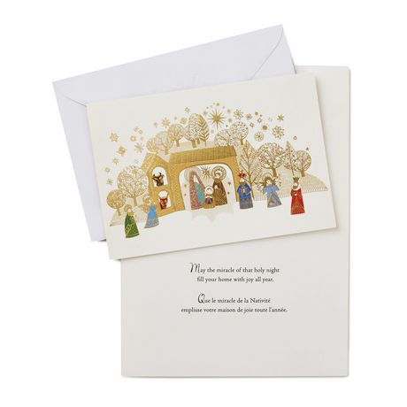 Unicef Christmas Cards.Hallmark Unicef Gold Foil Nativity Scene French Language