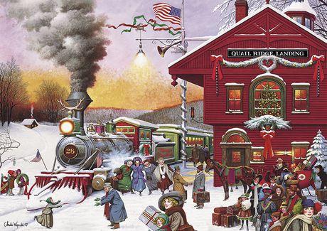 Casse-tête 500 Piece - Americana Collection - Whistle Stop Christmas - Jigsaw de Buffalo Games - image 2 de 2