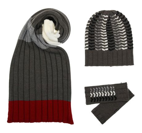V Fraas brown grey and red knit scarf, brown grey and white knit toque with matching arm warmers