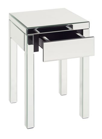 avenue six reflections mirrored silver end table