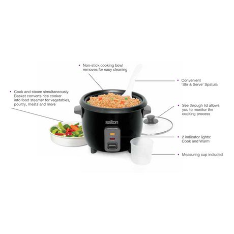 Salton Automatic Rice Cooker & Steamer 6 Cup RC1653 - image 6 of 9