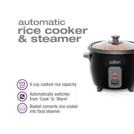 Salton Automatic Rice Cooker & Steamer 6 Cup RC1653 - image 8 of 9