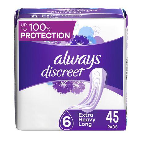 Serviettes d'incontinence longues Always Discreet, protection suprême de nuit - image 1 de 4