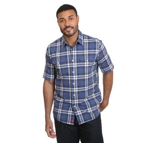 Dickies Men/'s Original Fit Two Pocket Short Sleeve Navy Plaid Work Shirts M-3XL