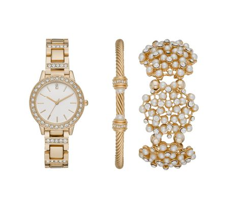 Women's Goldtone and Pearl Watch and Bracelets Gift Set - image 1 of 1