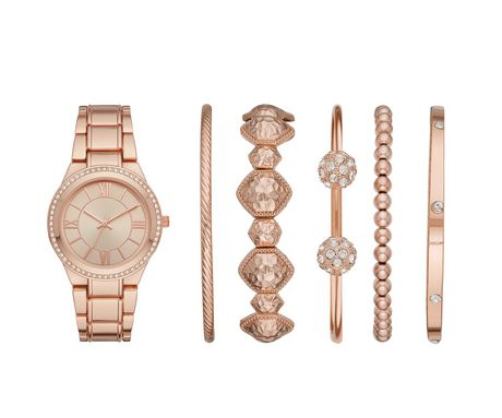 watch 63577 eebb5 Women s Rose Gold Watch and Bracelets Gift Set - image 1 ...