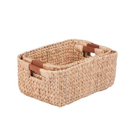 Honey Can Do Ensemble de 3mcx rectangulaires avec poignées en bois - image 2 de 2