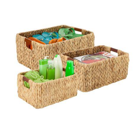 Honey Can Do Ensemble de 3mcx rectangulaires avec poignées en bois - image 1 de 2