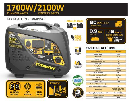 Firman Power Equipment W01781 Gas Powered 2100/1700 Watt (whisper Series) Extended Run Time Inverter Generator - image 7 of 7