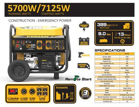 Génératrice portative à essence P05703 de Firman à 7 100/5 700 watts (série Performance) – autonomie prolongée - image 7 de 7