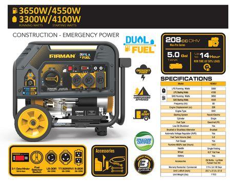 Firman Power Equipment H03651 Dual Fuel 4550/3650 Watt (hybrid Series) Extended Run Time Generator - image 7 of 7