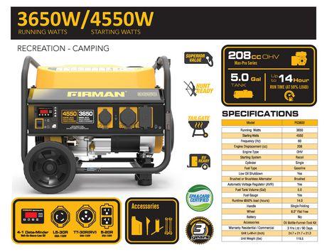 Firman P03602 - 4450/3550 Watt Gas Powered Portable Generator - image 7 of 7