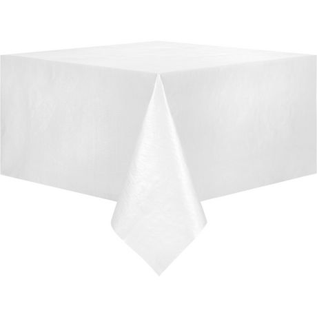 Mainstays PEVA Solid White Tablecloth