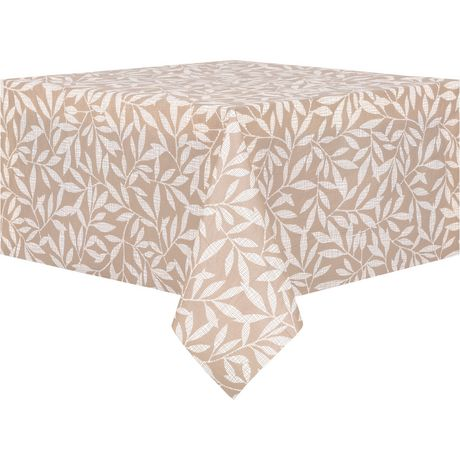 Mainstays PEVA Tan Leaves Tablecloth