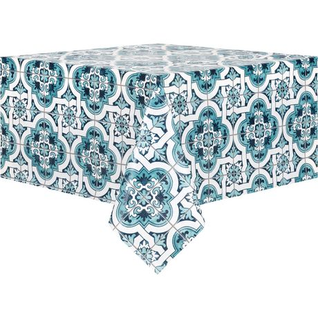 Mainstays PEVA Blue Geo Tablecloth