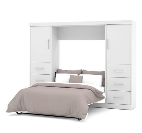 ensemble lit escamotable 2 places 109 po de nebula par bestar blanc walmart canada. Black Bedroom Furniture Sets. Home Design Ideas