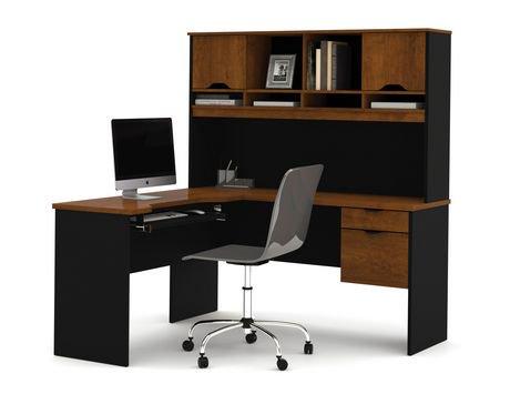 innova l shaped desk in tuscany brown black. Black Bedroom Furniture Sets. Home Design Ideas