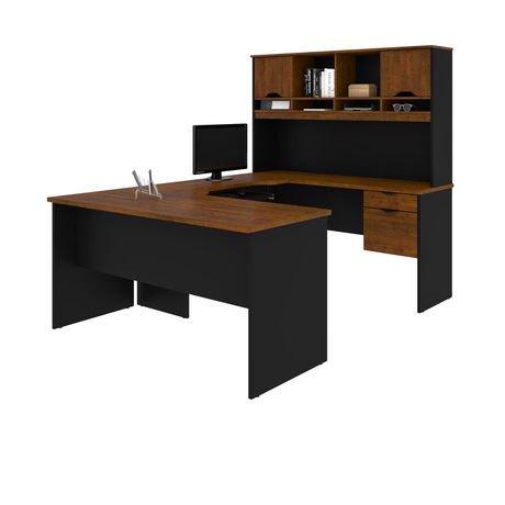 innova bureau en u en brun toscane noir. Black Bedroom Furniture Sets. Home Design Ideas