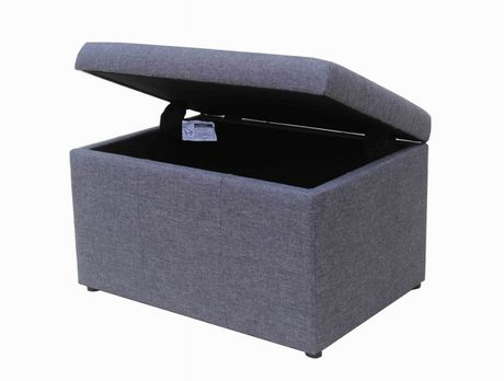 hometrends Faux Linen Storage Ottoman - image 3 of 3