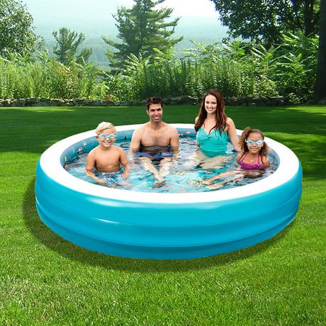 Blue Wave 7 5 Ft 3d Inflatable Round Family Pool Walmart