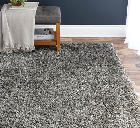 hometrends deluxe grey shag rug walmart canada. Black Bedroom Furniture Sets. Home Design Ideas