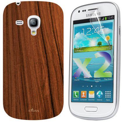 Étui Exian pour Samsung Galaxy S3 Mini à motif de grain de bois