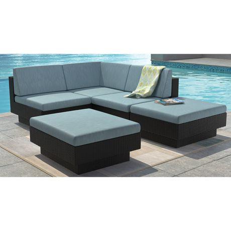 CorLiving PPT 341 Z Park Terrace Textured Black Weave Sectional Patio Set |  Walmart Canada