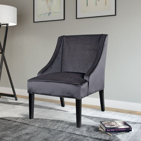 CorLiving Antonio Dark Grey Velvet Accent Chair | Walmart ...