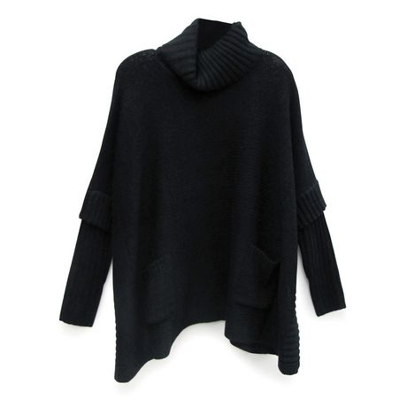 George Women's Mock Neck Boxy Poncho  with Sleeves - image 1 of 1