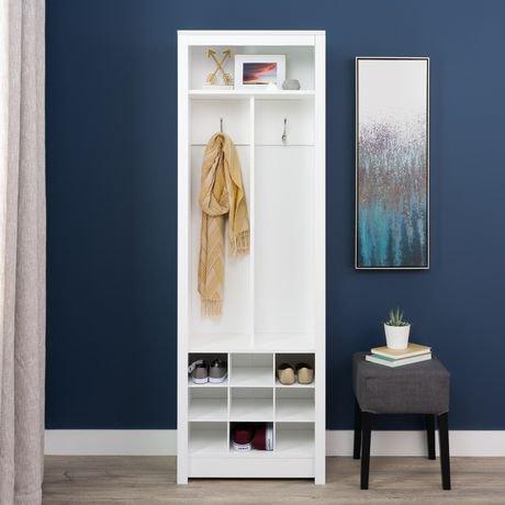 meuble de rangement compact prepac pour vestibule avec compartiments pour chaussures en blanc. Black Bedroom Furniture Sets. Home Design Ideas