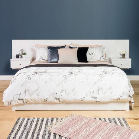 dossier de lit flottant prepac pour tr s grand lit avec tables de chevet en blanc walmart canada. Black Bedroom Furniture Sets. Home Design Ideas