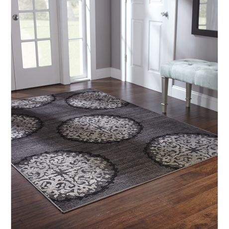 Home Trends Area Rug 5 Ft X 8 Ft Charcoal Medallions