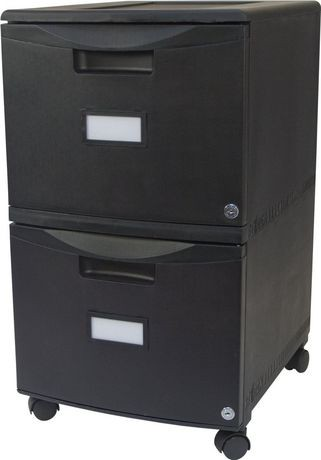 double drawer mobile filing cabinet, with lock and casters, all